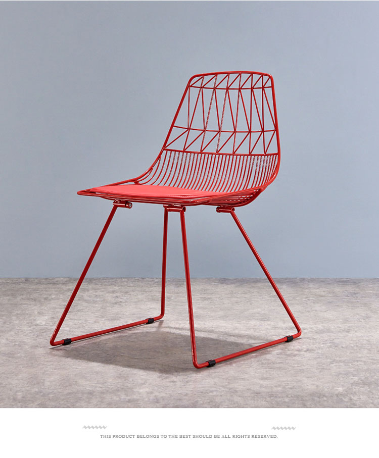 red metal dining chairs