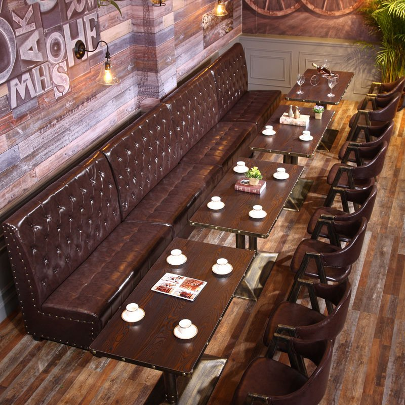 ShengYang restaurant furniture Industrial Metal Restaurant Furniture Catering Booths Sofa And Table SE001-31 Table and Sofa Group image197