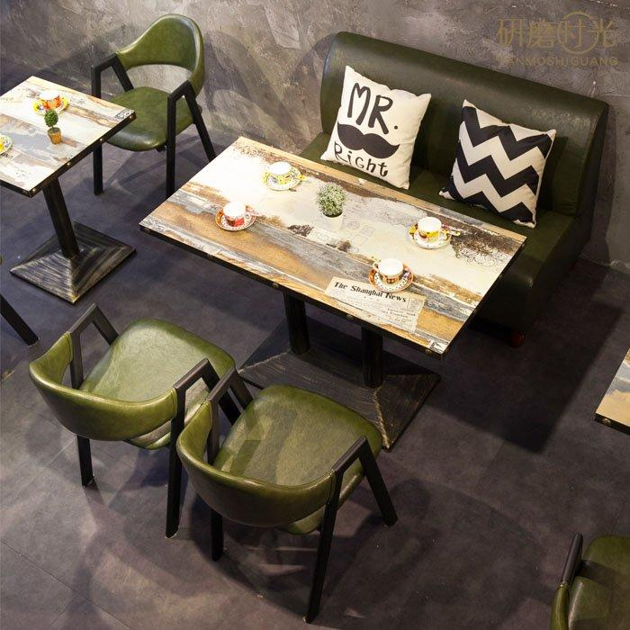 Retro Nostalgic Style Restaurant Leather Booths Sofa And Wooden Table SE002-5