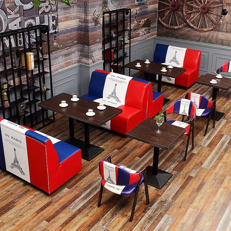 Vintage Industrial Style Coffee Shop Furniture Custom-Made Booths Sofa SE002-6