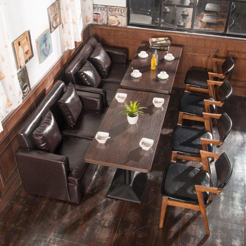 Nostalgic Coffee Shop And Restaurant Wooden Table And Sofa SE003-2