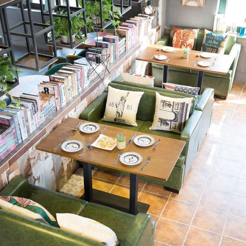 Popular Restaurant Wooden Table And Double Armrest Sofa Set SE003-3