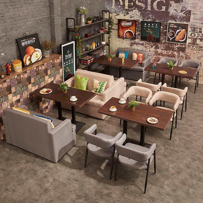 Retro Catering Furniture Fabrics Double Sofa And Wood Table SE003-5