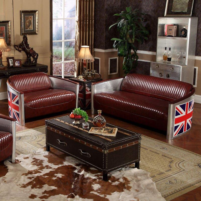 American Industrial Style Leather And Aluminum Skin Sofa Combination SH001