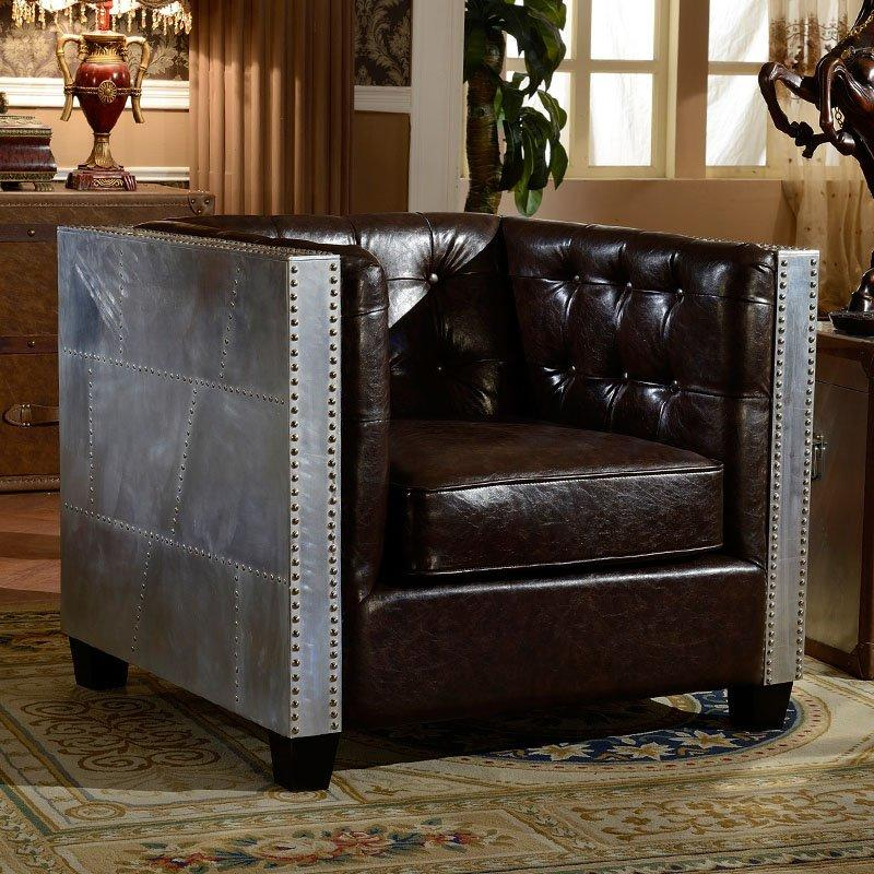 Industrial Loft Design Aluminum Skin And Leather Sofa Group SH002