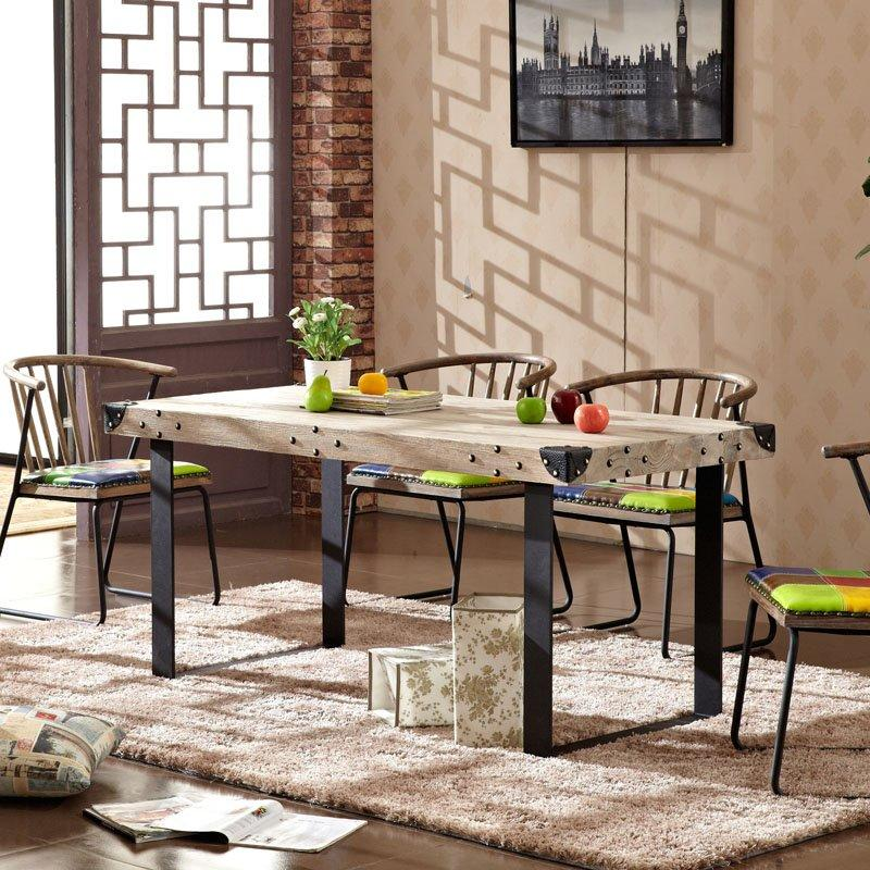 Retro Village Style Dining Room Rectangles Wooden Top Table TC001