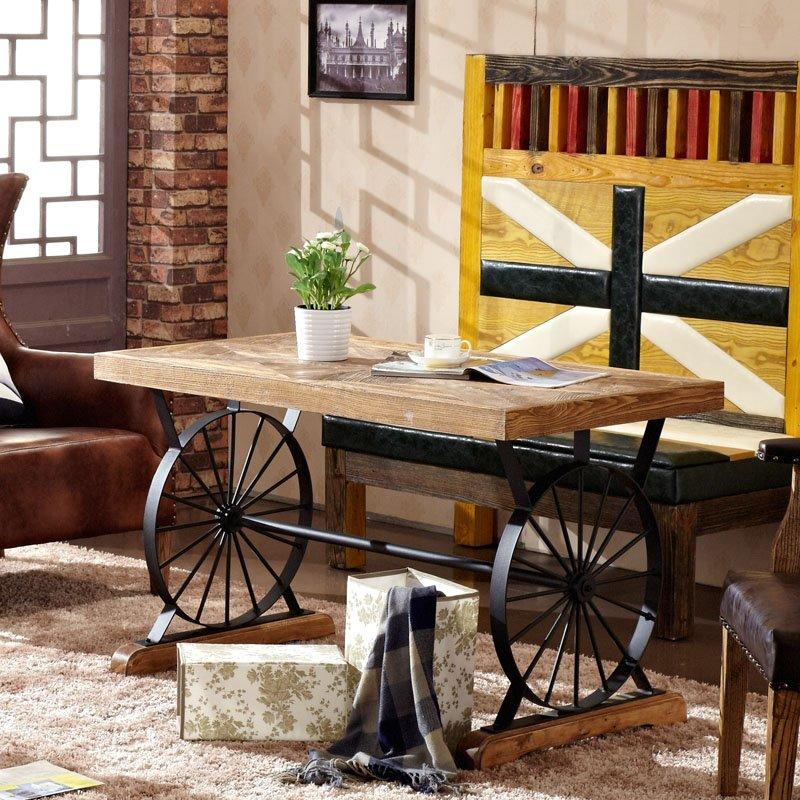 Loft Industrial Wheel Dining Table Restaurant Antique Wood Table TC002