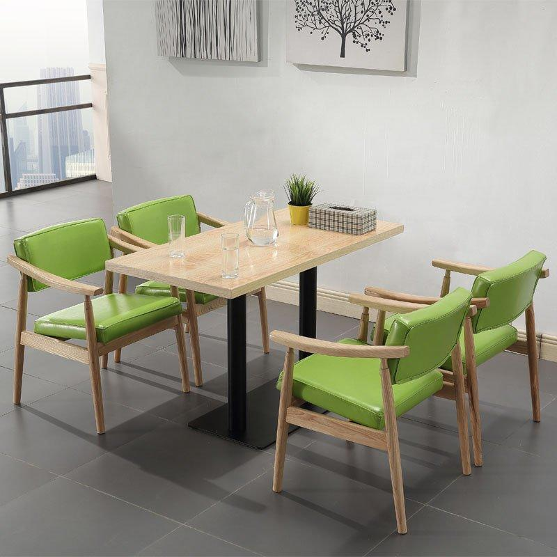 Modern Dining Furniture Cafe Wood Long Table And Leather Chair GROUP3