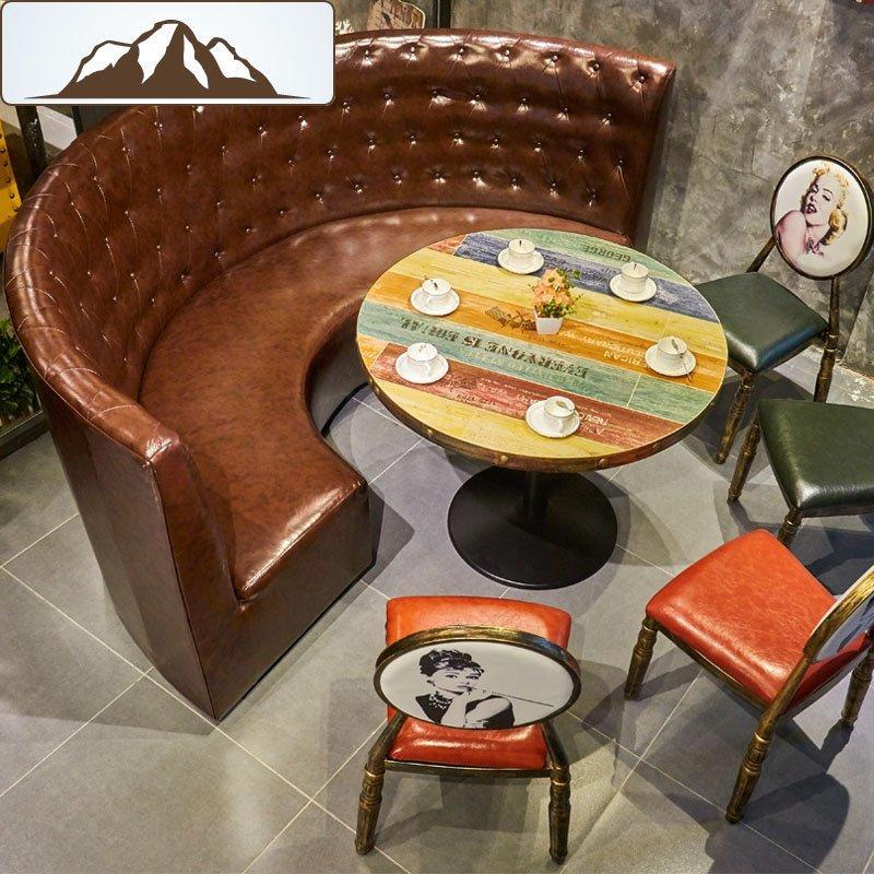 Retro Style Hot Pot Dining Set Themed Restaurant Circular Sofa SE001-18