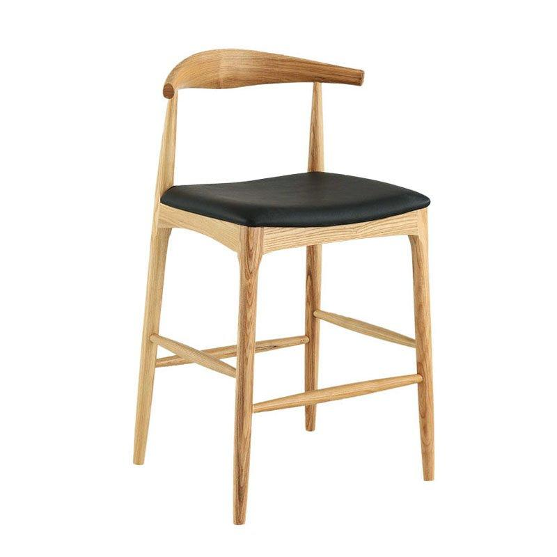 Nordic Ox Horn Upholstered Bar Chair With Ash Wood BA001
