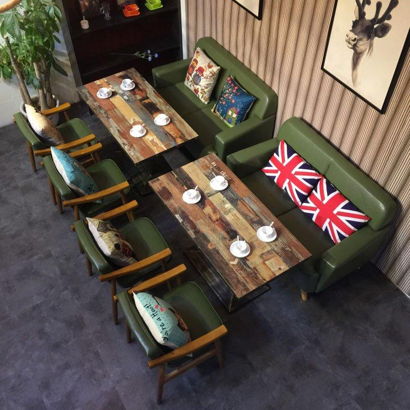 Retro Style Wooden Leather Restaurant Bench Sofa And Table SE006-4