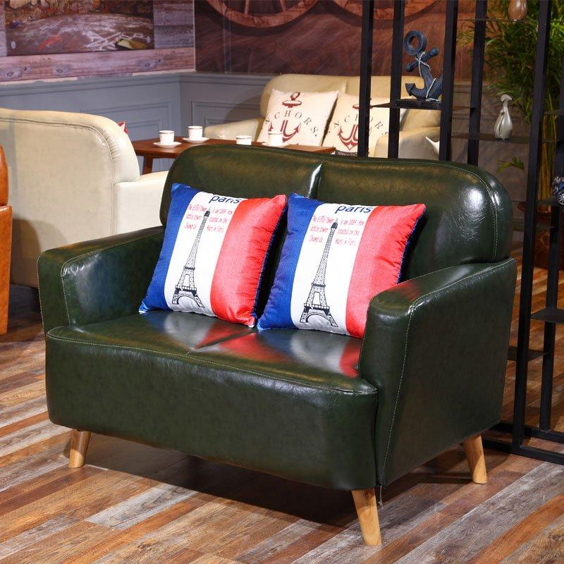 Retro Canteen Furniture Coffee Shop Table And Leather Sofa SE006-7