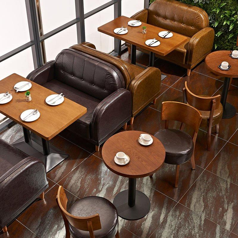 Classical Restaurant Catering Furniture Double Sofa And Plywood Table SE007-1