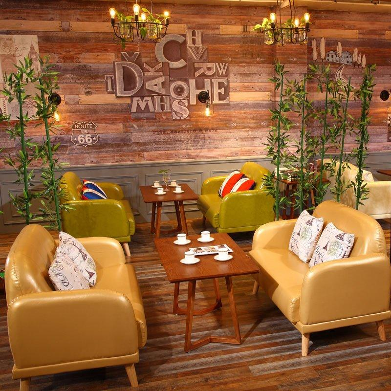 Rustic Style Dining Furniture Coffee Shop Wood Table And Sofa Set SE007-5