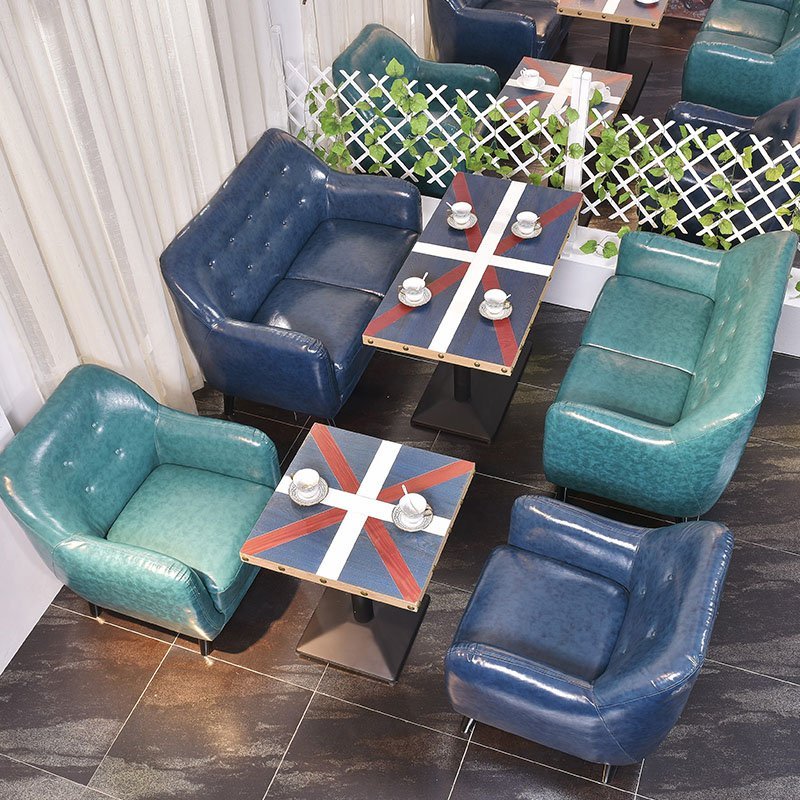 ShengYang restaurant furniture Contemporary Coffee Shop Sofa Seating Leather And Fabric Optional SE008-1 Table and Sofa Group image162