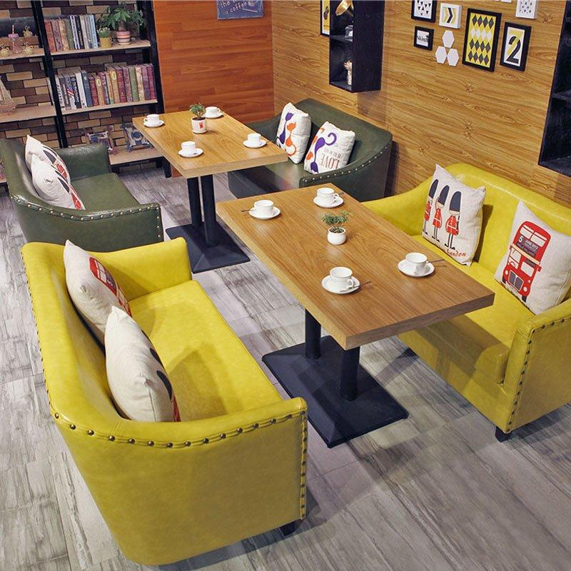 Modern Coffee Shop Furniture Leather Sofa And Wood Dining Table SE012-3