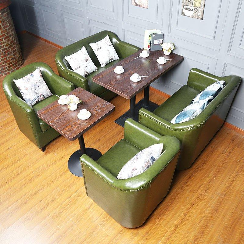 Retro Restaurant Table Set Wood Chair And Sofa Seating SE012-5