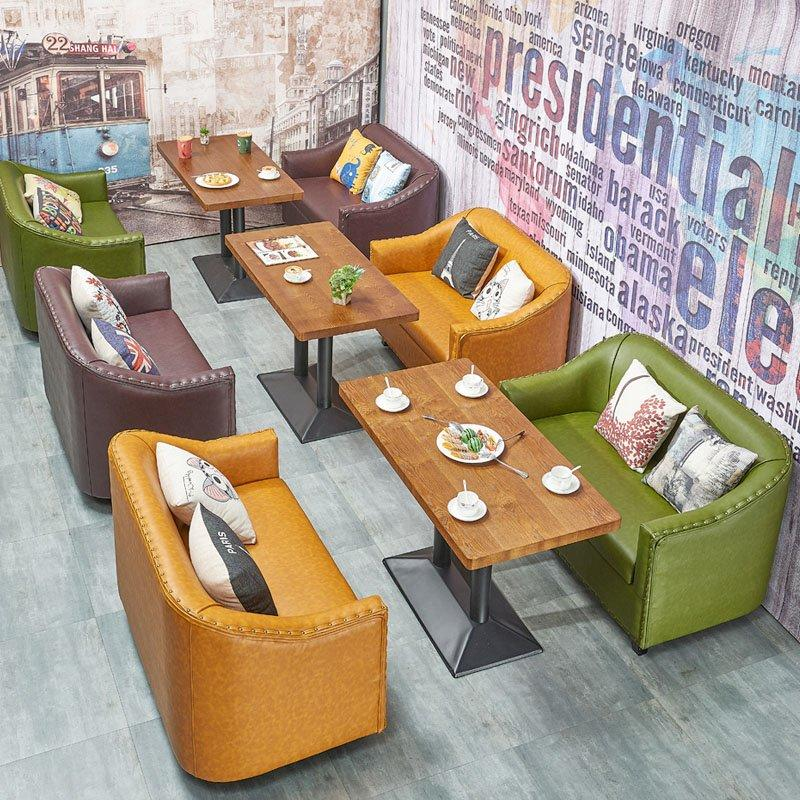 Classical Restaurant Dining Set Wood Table And Sofa With Rivet SE012-7