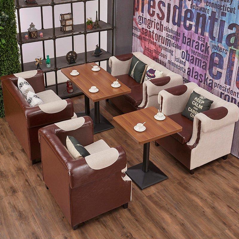 Modern Lounge Furniture Restaurant Armrest Sofa And Dining Table SE015-1