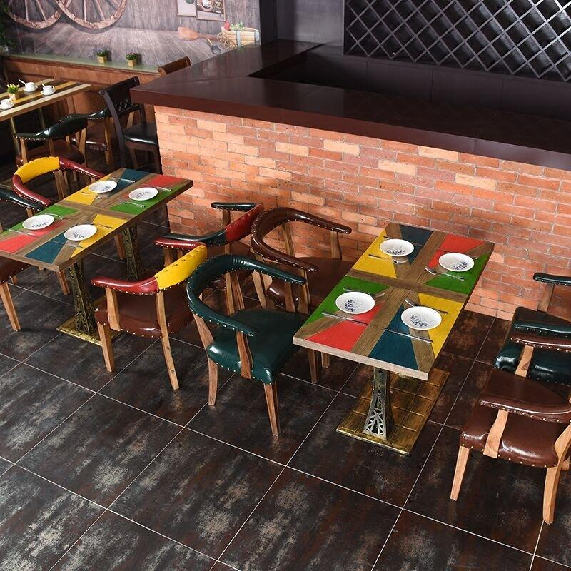 Antique Industrial Style Hot Pot Restaurant Table And Sofa Chair SE018-1