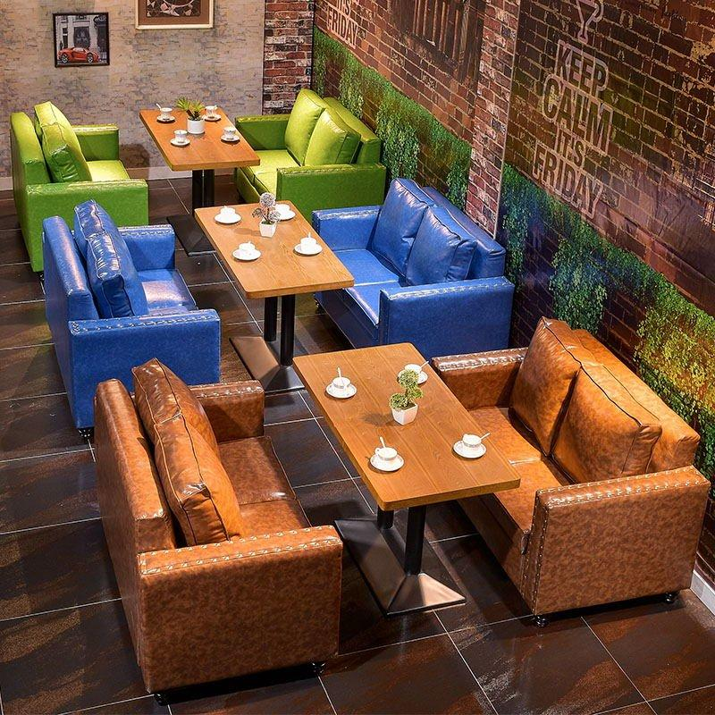 Rustic Style Bistro PU Leather Sofa Seating And Table Set SE019-2