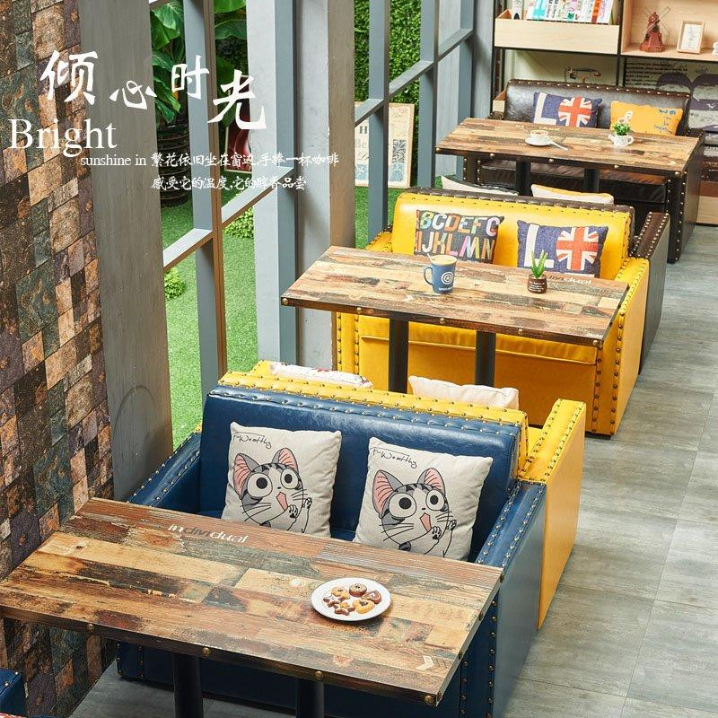 Retro Style Restaurant Bench Seating And Long Table SE019-5