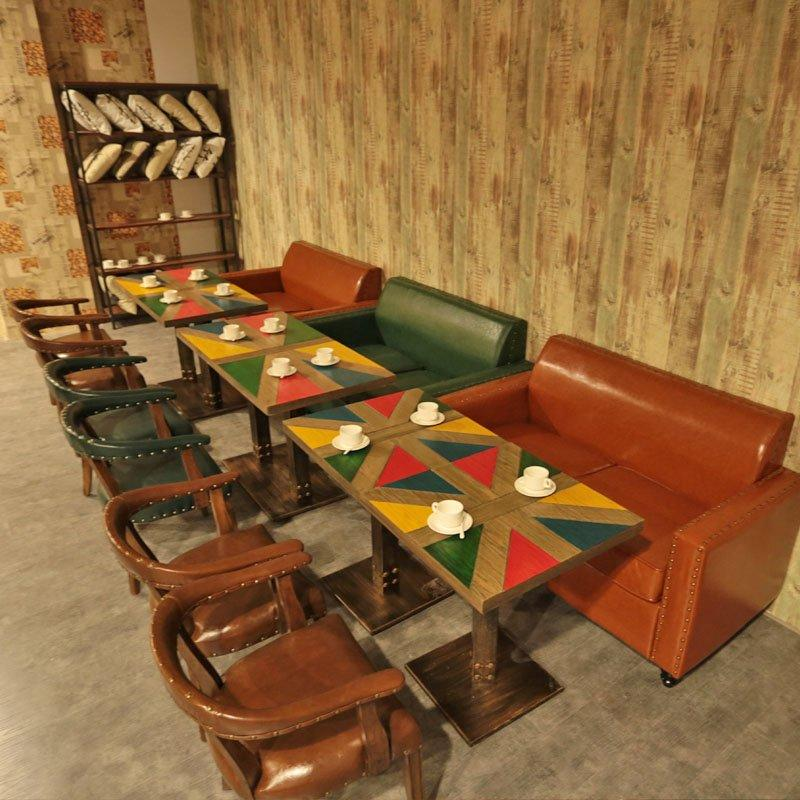 Industrial Restaurant Furniture Loft Style Dining Table And Sofa SE019-7