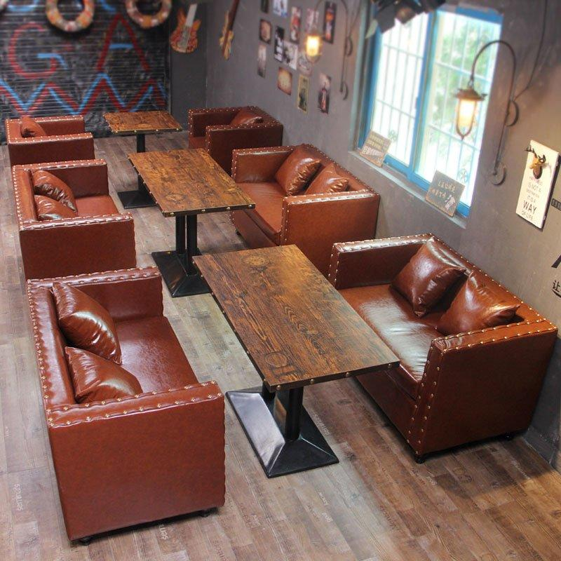 Retro Bistro Leather Sofa Dining Table And Chairs SE020-1