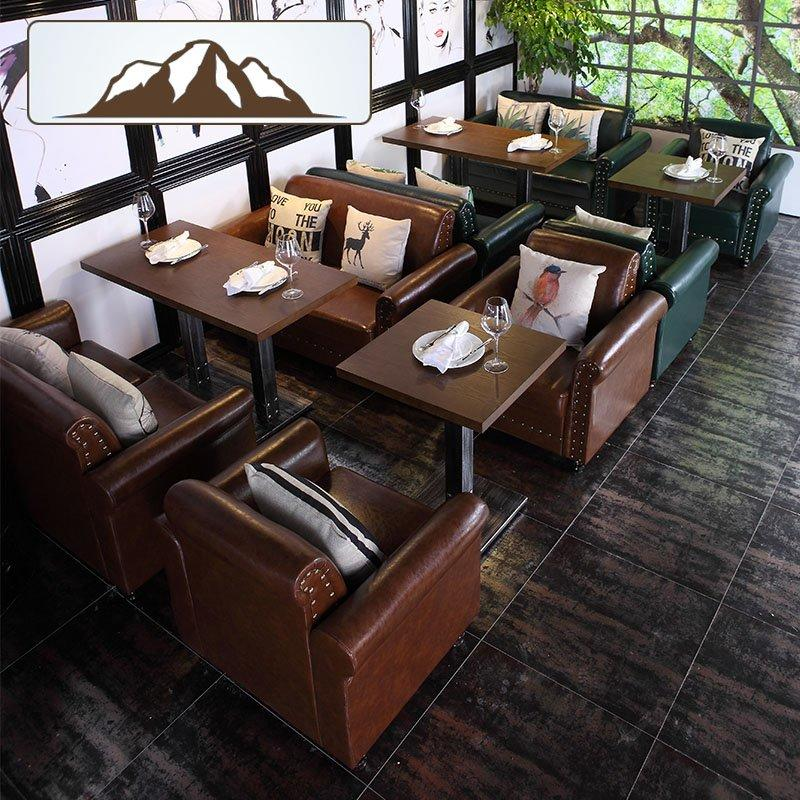 Modern Coffee Shop Wood Tables And Dining Sofas SE025-4