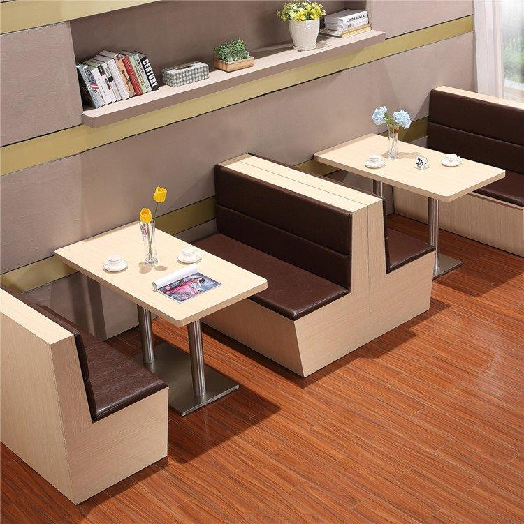 Modern Restaurant Corner Booths And Wood Table SJ001-2