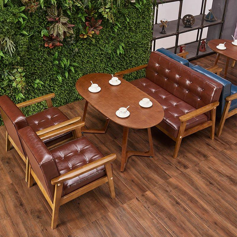 Nostalgic Coffee Shop Furniture Wooden Table And Sofa Chair SJ002-3