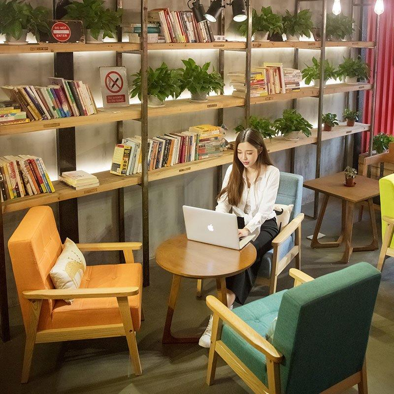 Fashional Cafe Table And Colorful Leather Sofa Chair SJ002-4