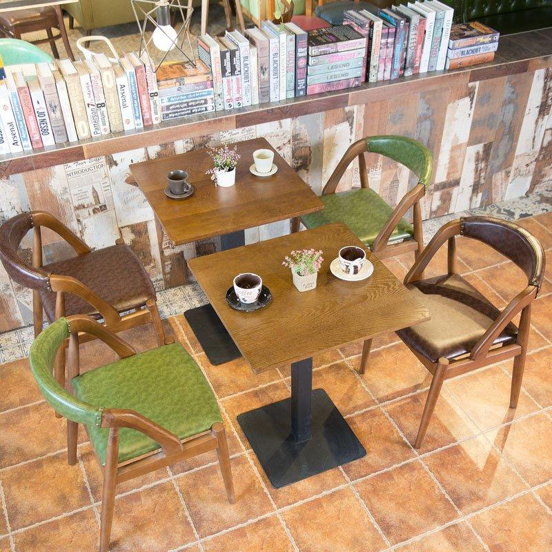 Retro Style Wood Dining Table And Leather Chair Seating GROUP19