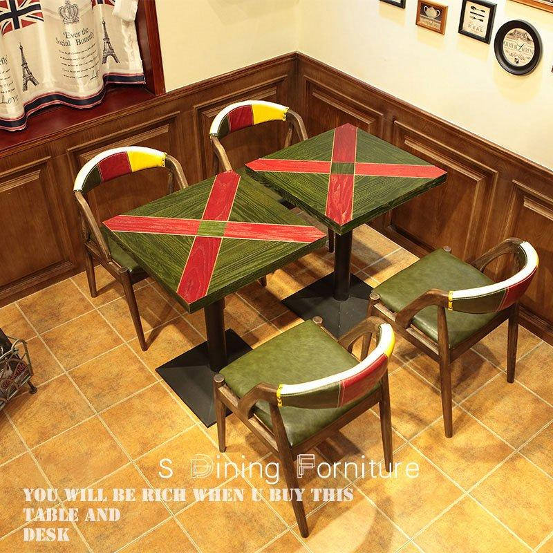 Retro Themed Restaurant Colorful Dining Table And Chair GROUP36