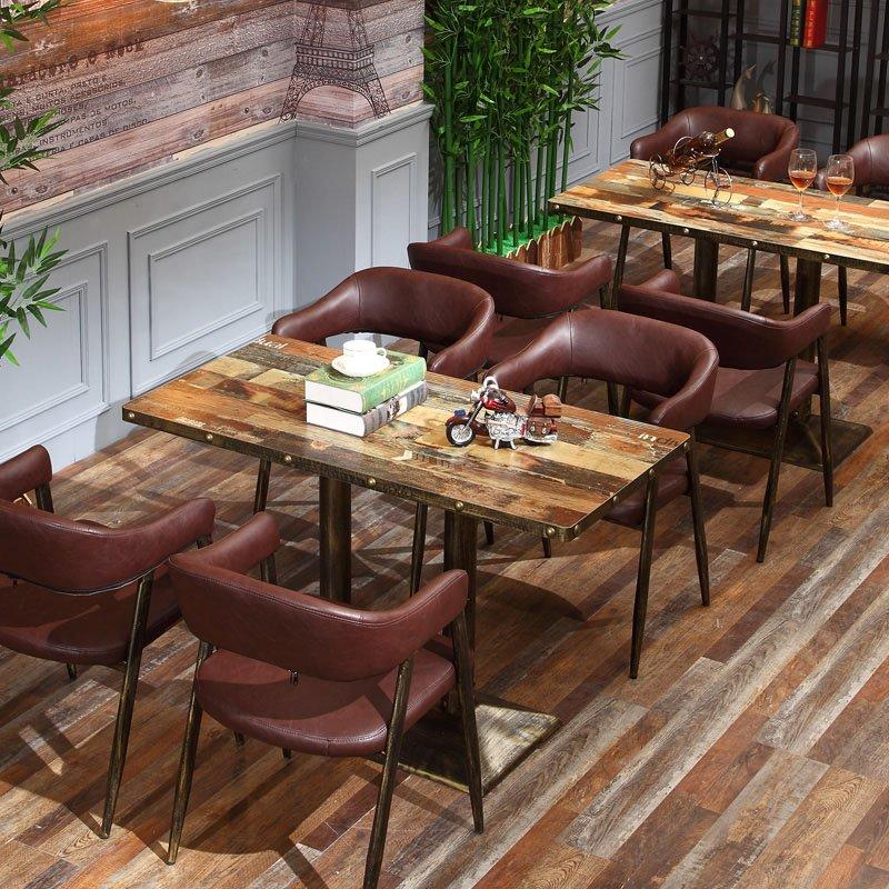 Industrial Coffee Shop Wood Table And Dining Chair GROUP42