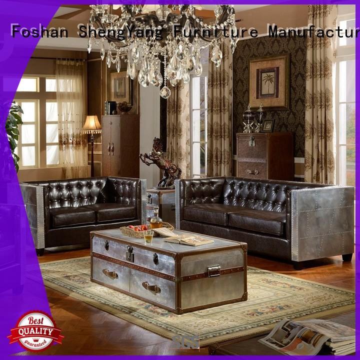 Industrial Loft Design Aluminum Skin And Leather Sofa Group SH002