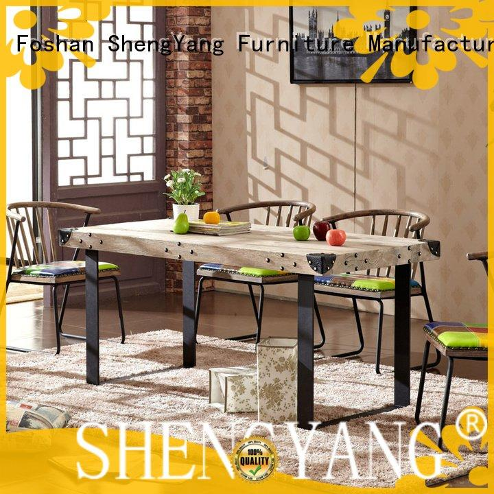 iron wooden shop restaurant ShengYang industrial dining table