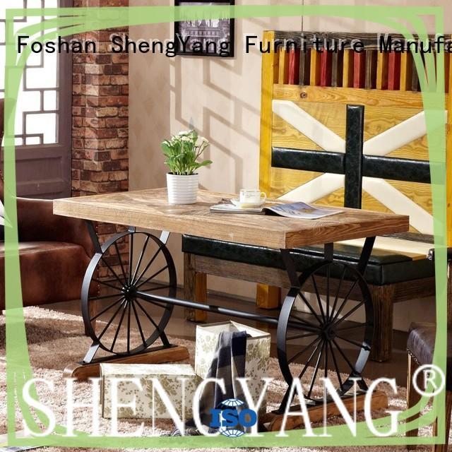 Loft Industrial Wheel Dining Table Restaurant Antique Wood Table TC002