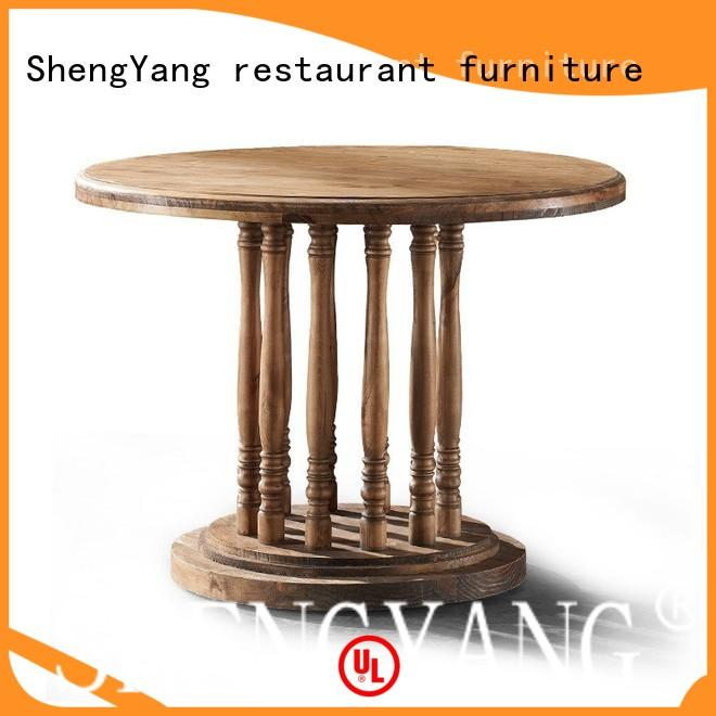 catering handmade wooden ShengYang restaurant furniture Brand industrial dining table factory