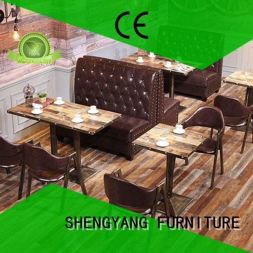 Quality booth dining table ShengYang Brand solid furniture