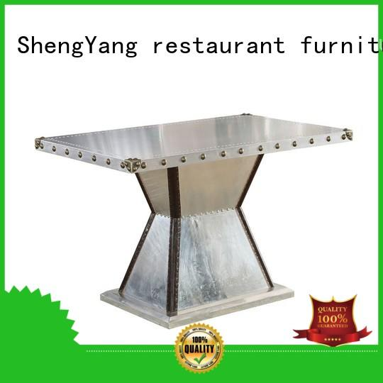 Quality ShengYang restaurant furniture Brand industrial dining table loft wheel
