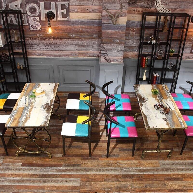 Rustic Coffee Shop Metal Ox Horn Chair And Table Set GROUP46