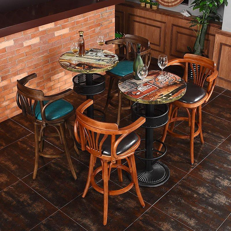 Rustic Bar And Coffee Shop Wooden Barstool And Table GROUP47