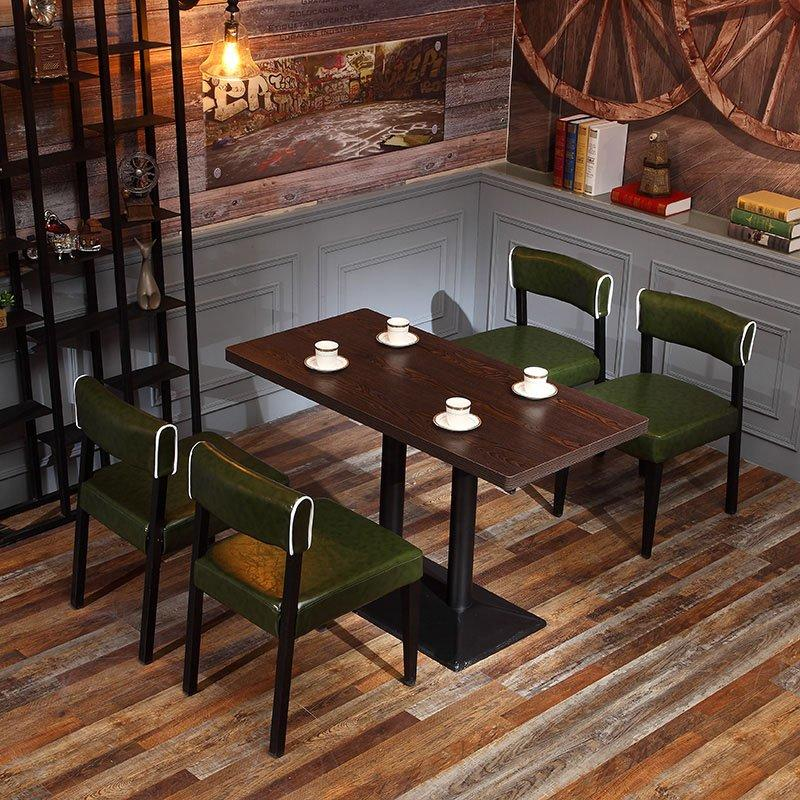 Retro Restaurant Bistro Leather Chair And Wood Table GROUP48