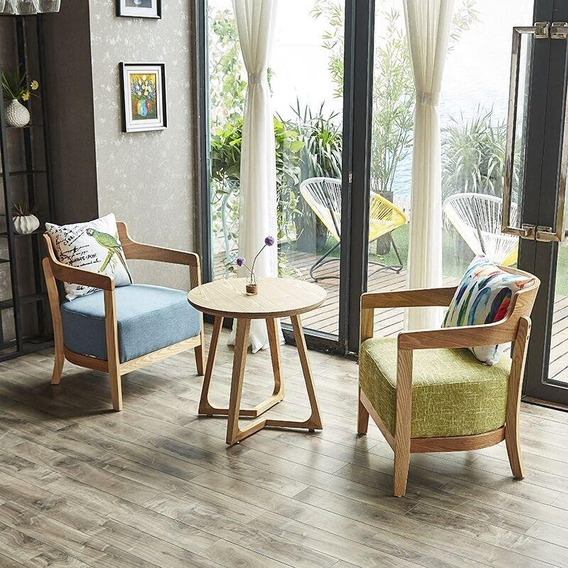 Modern Coffee Shop Solid Wood Leisure Chair And Table GROUP52