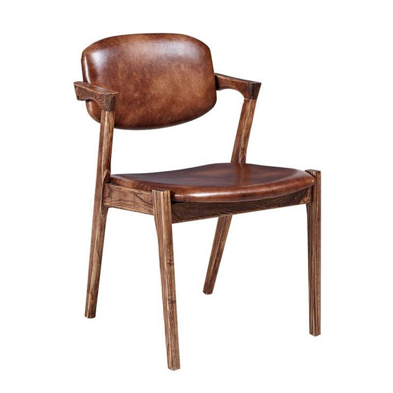 Antique Style Faux Leather And Wooden Armchairs CA026