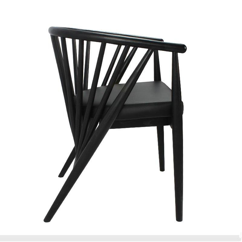 Fashion Pub And Bistro Black Leather Cafeteria Chairs CA059