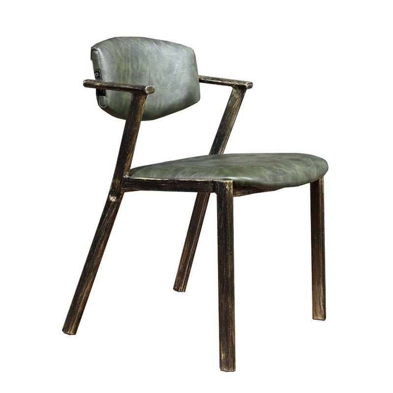 Industrial Coffee Shop Metal Leather Dining Chairs CE010