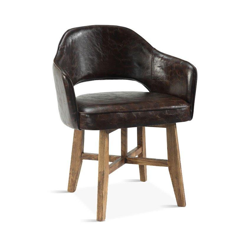 Antique Leather Upholstered Dining Chair Seating CB004