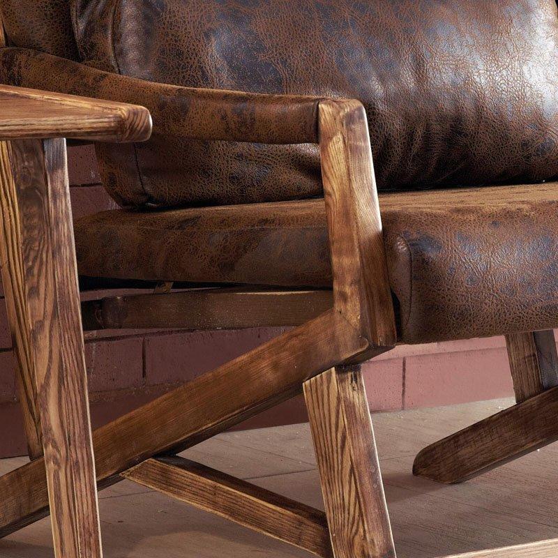 Rustic Style Club Solid Wood Sofa Chair SA008